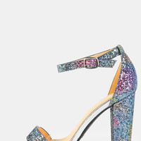 Ombre Glitter Chunky Heels Sandals