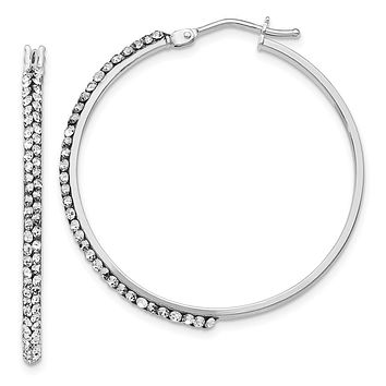 2 x 33mm Round Hoop Earrings in 14k White Gold with Swarovski Crystals
