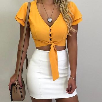 Mavel Cute Sash-Tied Crop Top