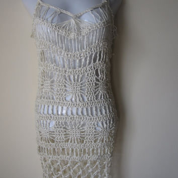 Ivory crochet dress, adjustable straps, Weddings,beachcover, resort wear, spiderweb motif
