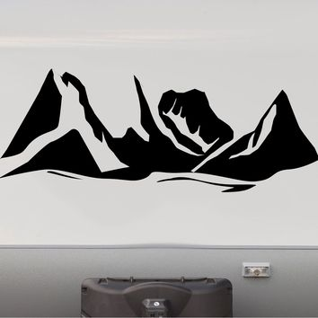 Large Mountains Replacement RV Camper Trailer Camping Decal Sticker   Front End Cap