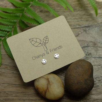 Smiling Face Sterling Silver Stud Earrings, smile earrings, Minimal Earrings, Geometric Earrings, Tiny earrings