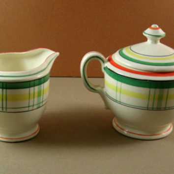 Mid Century Handpainted Plaid Creamer Sugar Set / Red Stamp Japan