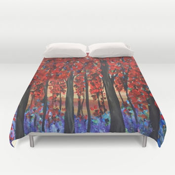 Red Autumn trees Duvet Cover or comforter - Bright, bold,  bedroom, forest, woodland design, impressionist fine art bedroom linens, decor