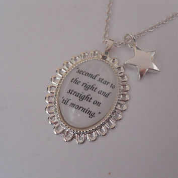 Peter Pan Second Star To The Right Quote Silver Cameo & Star Charm Necklace/Pendant