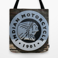 Indian Motorcycle Emblem Tote Bag by Veronica Ventress
