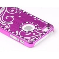 Pandamimi Deluxe Rose Pink Bling Diamond Rhinestone Aluminum Chrome Hard Case Cover for Apple iPhone 5 5G , Screen Protector