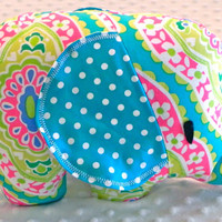 Baby Girl Turquoise Fuchsia Lime Medallions Turquoise Polka Dots Stuffed Elephant Toy