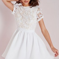 Missguided - Lace Short Sleeve Skater Dress White/Nude
