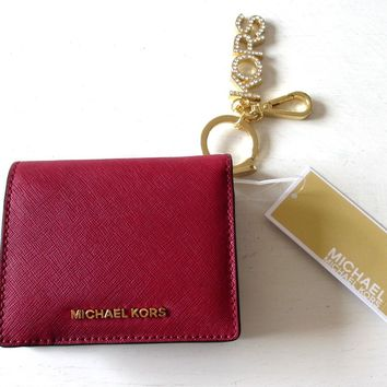 NWT MICHAEL KORS Womens Medium Carry All Set Red Leather Wallet & Keychain Charm