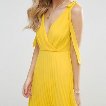ASOS PETITE Cami Strap Tie Pleated Maxi Dress at asos.com