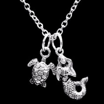 Mermaid Sea Turtle Ocean Beach Nautical Animal Nature Gift Charm Necklace