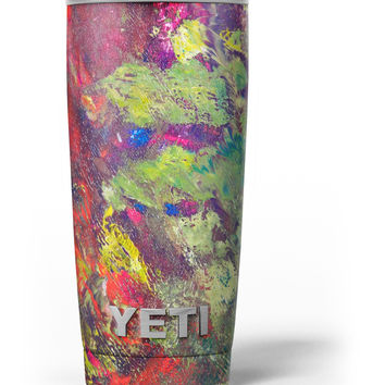 Green and Red Wet Oil Paint Canvas Yeti Rambler Skin Kit