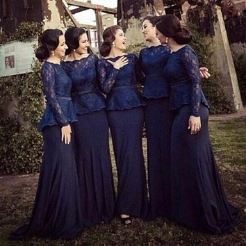 2016 Navy Blue Cheap Mermaid Bridesmaid Dresses Lace Top with Sash Long Sleeves Chiffon Wedding Party Gowns vestido de festa