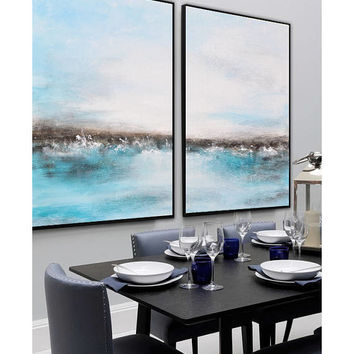 Set of 2 Abstract Art Large Artwork Oil Paintings Diptych Blue Landscape Paintings Modern Design Wall Art by L.Beiboer