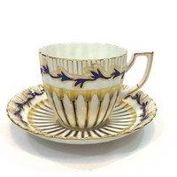 Royal Chelsea Tea Cup & Saucer, Hand Painted Cobalt Blue and Gold, Branch Foliate Gold Stripes, High Tea, English Bone China, 1950s Vintage
