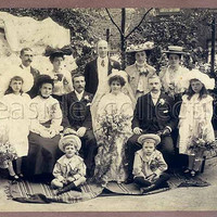 Large Real Photo Wedding Party Portrait Sepia Tone 1900s Victorian Dress Fabulous Hats Gloves Mustache Boys Breeches Stockings Corsages