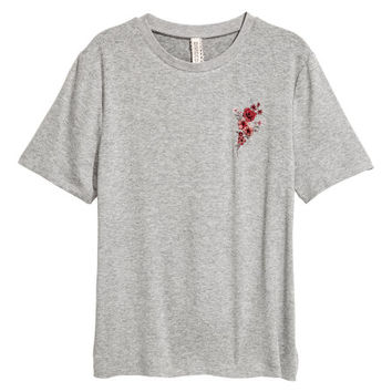 Jersey Top with Embroidery - from H&M