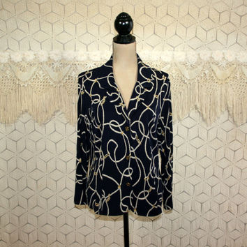 Plus Size Navy Blue Blouse Rope Chain Print Shirt Knit Top Nautical Shirt Long Sleeve Top Button Up Blouse Large XL Womens Clothing