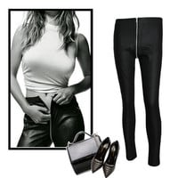 2016 European American High Waist Front To Back Zipper Pants Full Length Stretch Skinny Slim Pencil PU Leather Pants Trousers