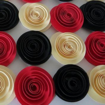 """Small paper flowers set, package of 12 Red Ivory and Black rose buds, 1.5"""" rosette, swirl floral wedding decor"""