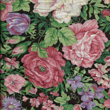 Pink and Purple Floral Cotton Fabric 2 1/2 Yards by debscrafts55