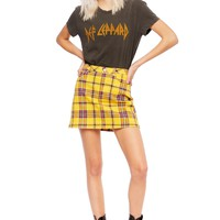 Punk Rocker Yellow Plaid Tartan Mini Skirt