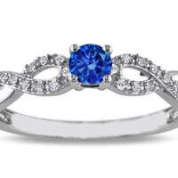 European Engagement Ring - Blue Sapphire infinity Diamond Ring in 14K white Gold - ER268BSWG