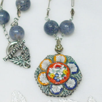 Vintage Mosaic Pendant, blue Coral beaded Necklace