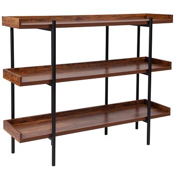 Mayfair Wood Grain Finish Storage Shelf with Metal Frame