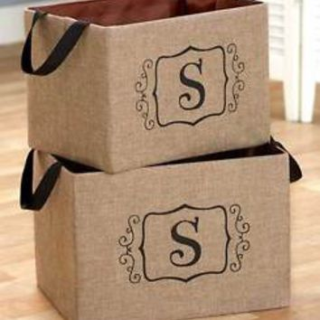 "Set of 2 Burlap Monogram Letter ""S"" Storage Oraganizer Bins Kid's Toys Books"