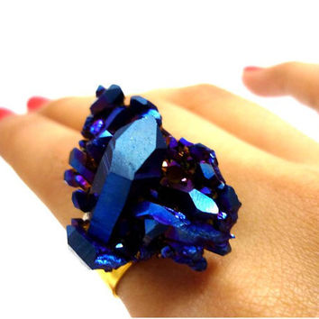 ON HOLD  Titanium Quartz Cobalt Blue Rainbow Aura by AstralEYE
