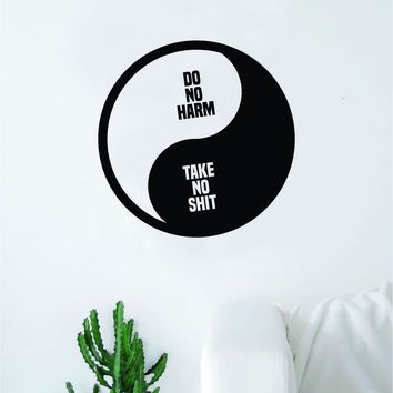 Yin Yang Do No Harm Quote Decal Sticker Wall Vinyl Art Decor Bedroom Living Room Namaste Om Meditate Zen Buddha Good Vibes Teen
