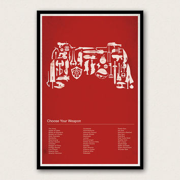Choose Your Weapon - Video Game Poster - Halo, Zelda, Mario, Portal, Mass Effect, Final Fantasy, Dead Space, Gears of War, Assassin's Creed