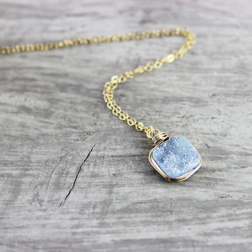 Slate Blue Necklace, Light Blue Druzy Necklace, Druzy Gemstone Necklace, Gold Fill Necklace, Wire Wrap Necklace, Small Pendant Necklace