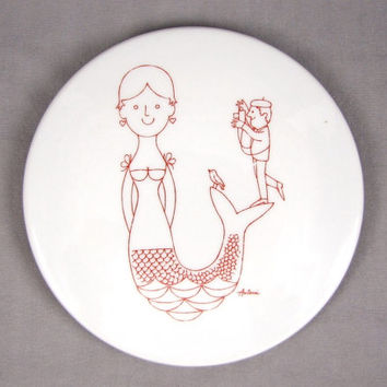 Say Cheese - Vintage 1960s Mermaid Wall Hanging or Trivet by Antoni for Bing and Grondahl (B & G), With Photographer Taking Picture