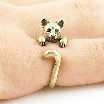 Animal Wrap Ring - Cougar / Panther - Yellow Bronze - Adjustable Ring - keja jewelry
