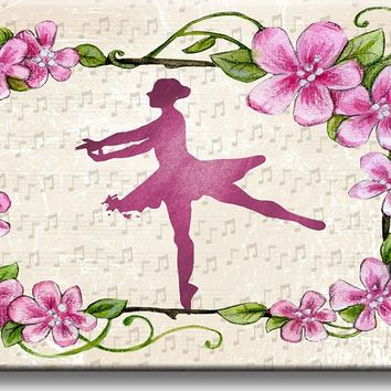 Ballet Ballerina and Flowers Picture on Stretched Canvas, Wall Art Décor, Ready to Hang