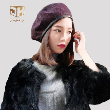 joejerry Female Plaid Beret French Hat Flat Cap Bonia Feminina Vintage Women Hat Leather Artist Beret Winter