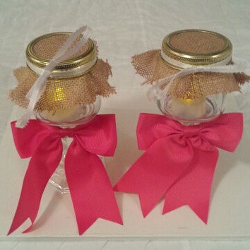 Burlap pink white wedding candle jar / center piece set. Any color to match your wedding