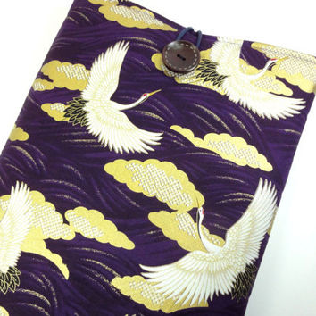 "Cranes 11"" Macbook Sleeves, Handmade In Canada, Great Gift Ideas, Japanese Kimono Cotton Fabric Cranes Purple"
