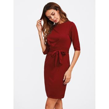 Hidden Pocket Side Self Tie Dress