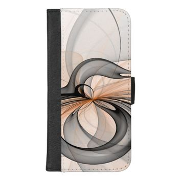 Abstract Anthracite Gray Sienna Shapes Fractal Art iPhone 8/7 Plus Wallet Case