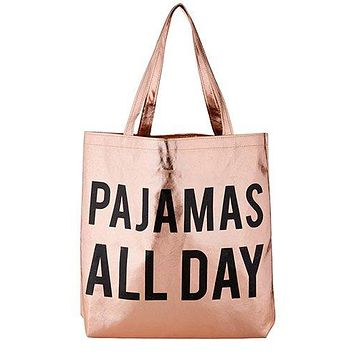 Pajamas All Day Tote Bag in Rose Gold