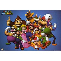 Super Mario Bros Video Game Characters Poster 24x36