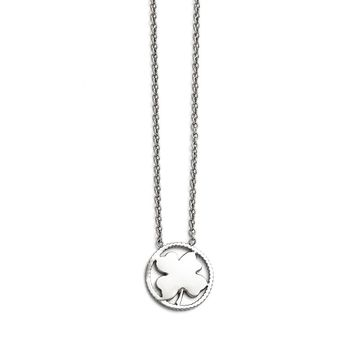 Four Clover Leaf Necklace in Stainless Steel - Lobster Claw Cable Chain