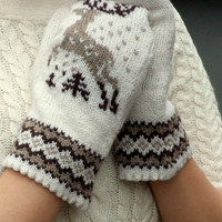 Knit mittens, nordic reindeer ornament, wool, brown and white