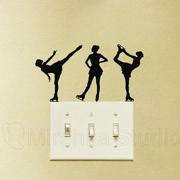Ice Skates Light Switch Velvet Sticker - Set Of 3 Skaters Wall Decals - Ice Skating Laptop Decal - Glide Skating Vinyl Wall Decor - Girl Art