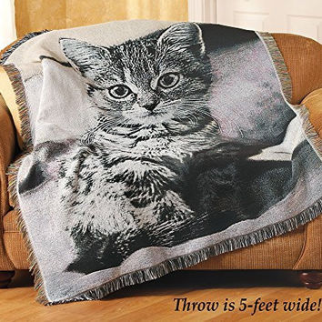 Cat Kitten Meow Grey Multicolored Greys Fringe Soft Warm Tapestry Throw
