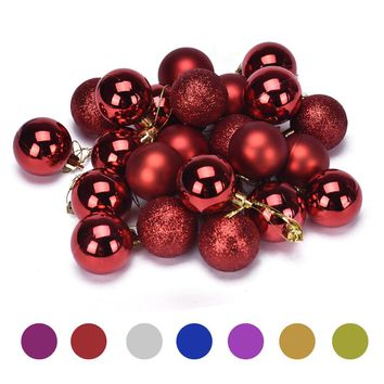 24pcs/Set Plastic Christmas Decorations For Home Xmas Tree Decorations Christmas Ball Baubles Party Wedding Hanging Ornament 4cm